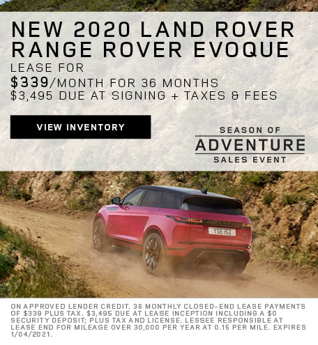 Lease: 2020 Land Rover Range Rover Evoque S $339 per month for 36 months at $42,650 MSRP*