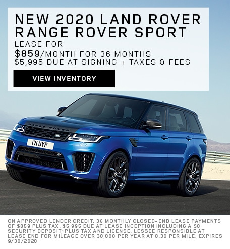 Lease: 2020 Land Rover Range Rover Sport HSE $859 per month for 36 months at $74,250 MSRP*