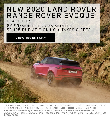Lease: 2020 Land Rover Range Rover Evoque SE $429 per month for 36 months at $47,200 MSRP*