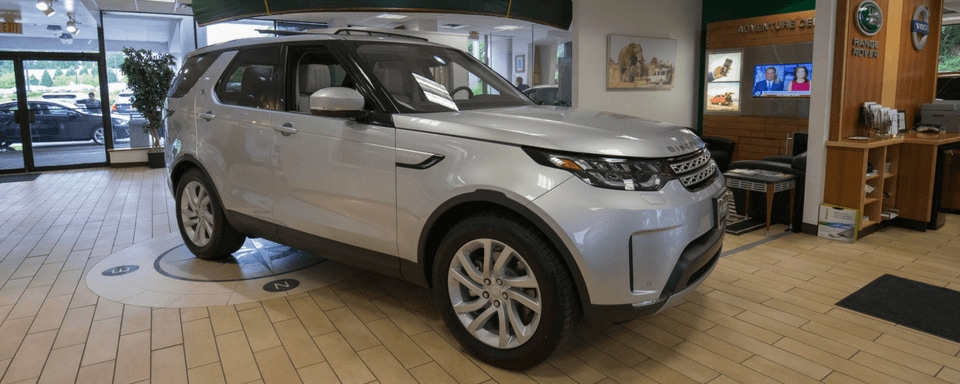 Land Rover Mt. Kisco finance center and showroom with a new Land Rover vehicle for sale