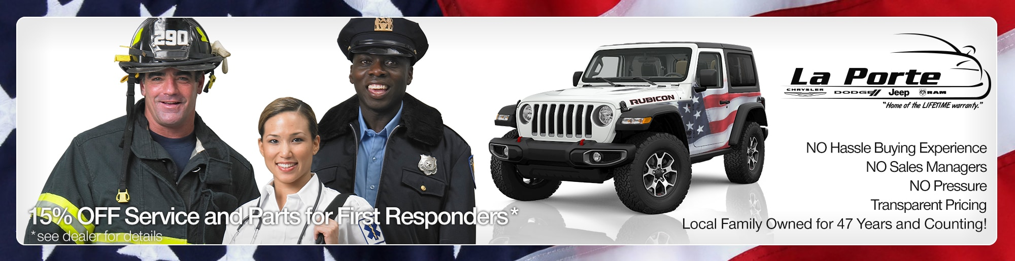 15% off service and parts for first responders