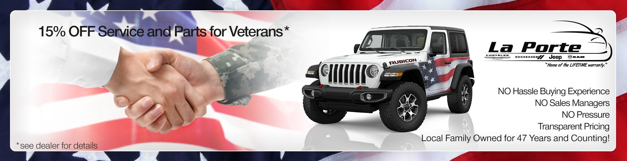15% off service and parts for veterans