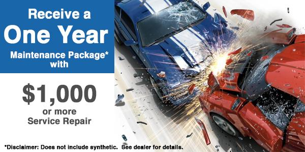 Free Pre-Paid Maintenance package with $1000 or more body shop work