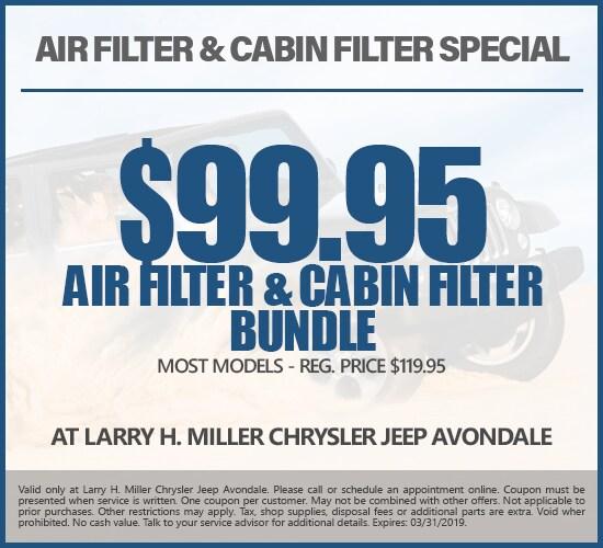 Air Filter & Cabin Filter Bundle For Just $99.95 at Larry H. Miller Chrysler Jeep Avondale
