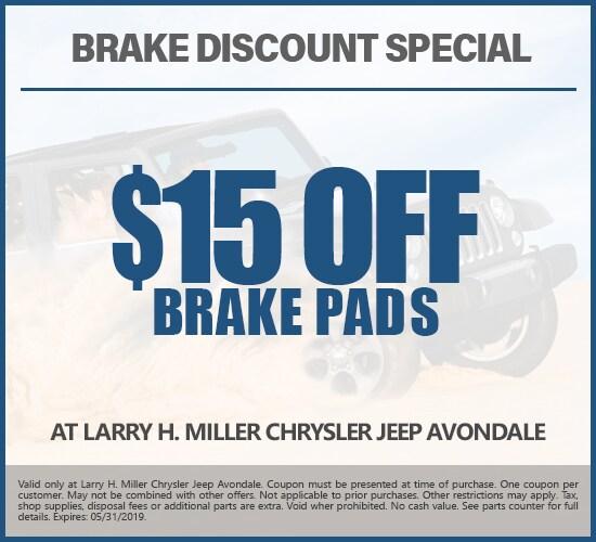 Get $15 Off Brake Pads at Larry H. Miller Chrysler Jeep Avondale