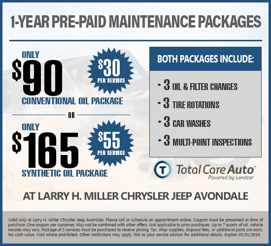 Save Big With 1-Year Pre-Paid Maintenance at Larry H. Miller Chrysler Jeep Avondale