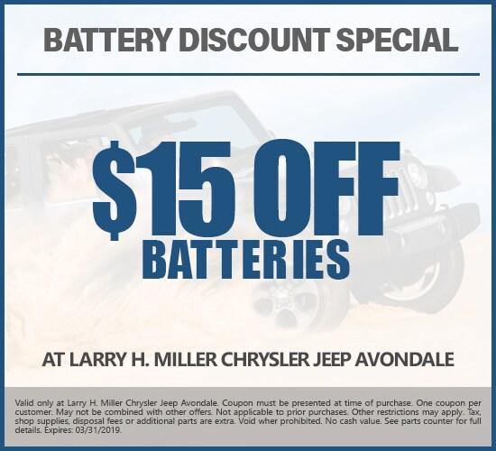 $15 Off Batteries at Larry H. Miller Chrysler Jeep Avondale