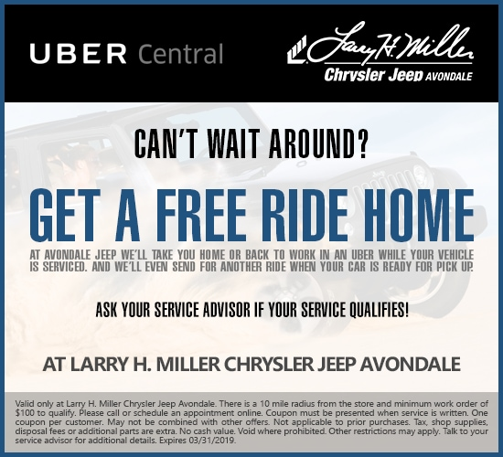 Get A Free Uber Ride With $100 Minimum Service at Larry H. Miller Chrysler Jeep Avondale