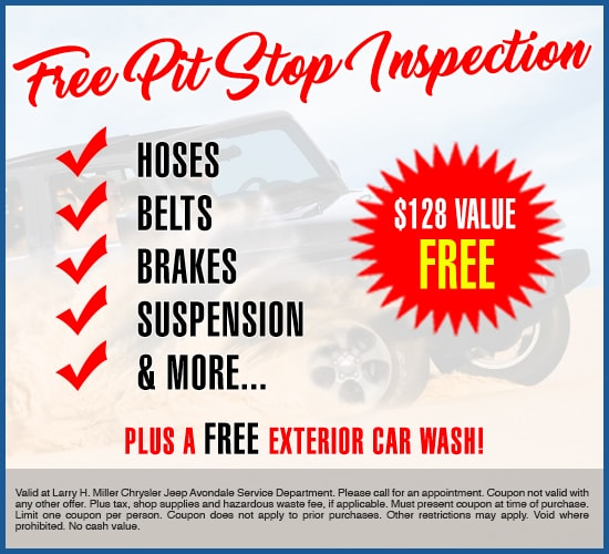 Free Pit Stop Inspection Plus A Free Exterior Car Wash at Larry H. Miller Chrysler Jeep Avondale