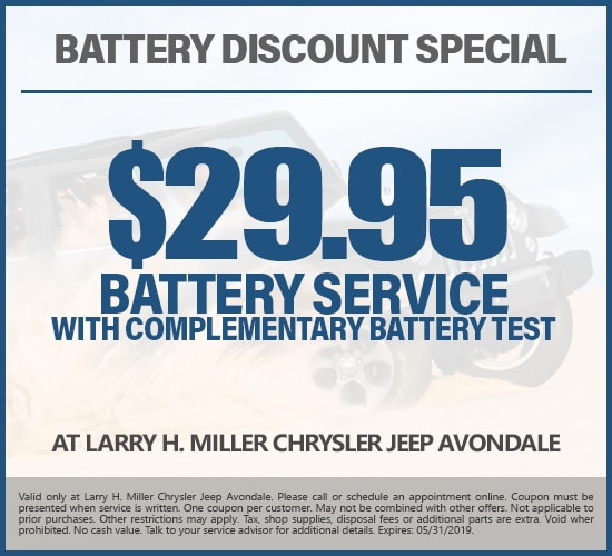 $29.95 Off Battery Service With Complementary Battery Test at Larry H. Miller Chrysler Jeep Avondale