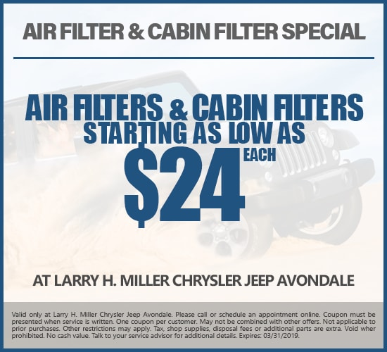 Air Filters & Cabin Filters Starting As Low As $24 Each at Larry H. Miller Chrysler Jeep Avondale