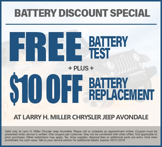 Free Battery Test & $10 Off Battery Replacement at Larry H. Miller Chrysler Jeep Avondale
