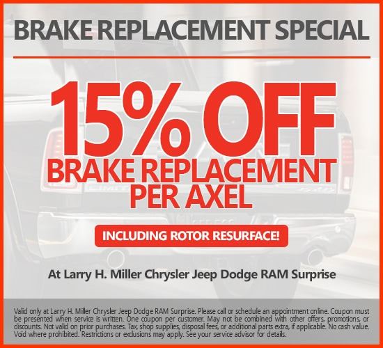 15% Off Brake Replacement Per Axel Including Rotor Resurface at Larry H. Miller Chrysler Jeep Dodge Ram Surprise