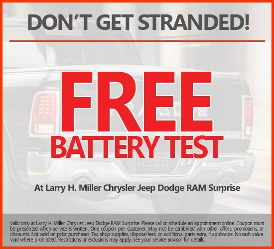 Free Battery Test at Larry H. Miller Chrysler Jeep Dodge Ram Surprise