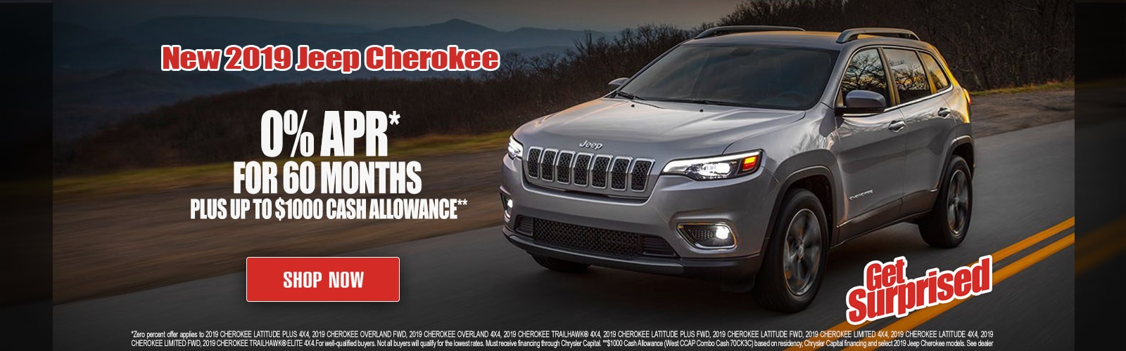 0% APR For 60 Months On 2019 Jeep Cherokee at Larry H. Miller Chrysler Jeep Dodge Ram Surprise