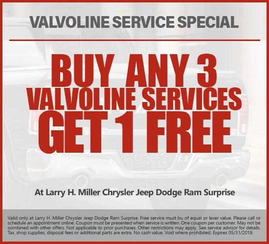 Buy Any 3 Valvoline Services, Get 1 Free at Larry H. Miller Chrysler Jeep Dodge Ram Avondale