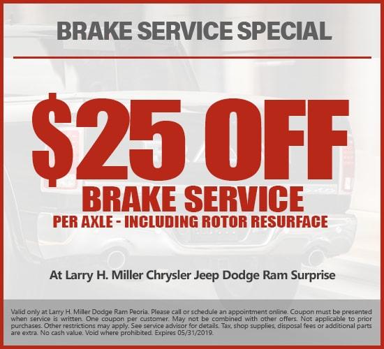 $25 Off Brake Service at Larry H. Miller Chrysler Jeep Dodge Ram Surprise