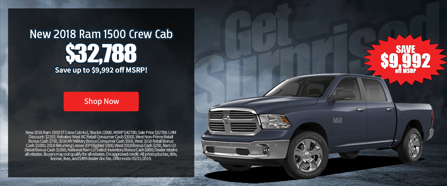 New 2018 Ram 1500 Crew Cab As Low As $32,788 at Larry H. Miller Chrysler Jeep Dodge Ram Surprise