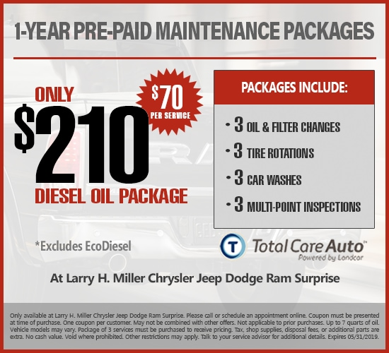 1-Year Pre-Paid Maintenance Diesel Oil at Larry H. Miller Chrysler Jeep Dodge Ram Surprise