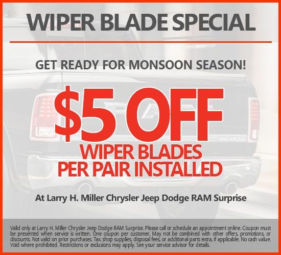 $5 Off Wiper Blades Per Pair Installed at Larry H. Miller Chrysler Jeep Dodge Ram Surprise