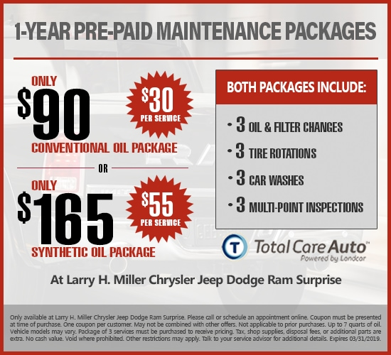 1-Year Pre-Paid Maintenance Synthetic Or Conventional Oil at Larry H. Miller Chrysler Jeep Dodge Ram Surprise