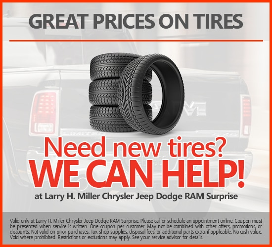 Great Prices On New Tires at Larry H. Miller Chrysler Jeep Dodge Ram Surprise