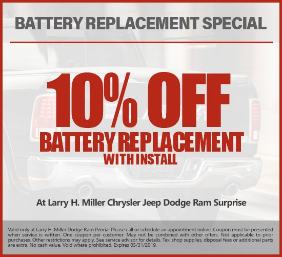 $10 Off Battery Replacement at Larry H. Miller Chrysler Jeep Dodge Ram Surprise