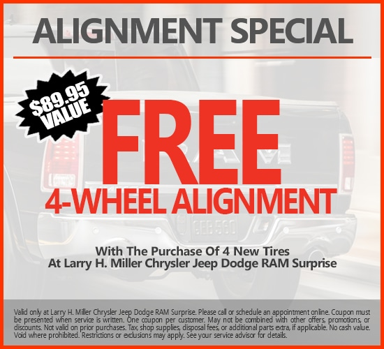 Free 4-Wheel Alignment With Purchase Of 4 New Tires at Larry H. Miller Chrysler Jeep Dodge Ram Surprise.png
