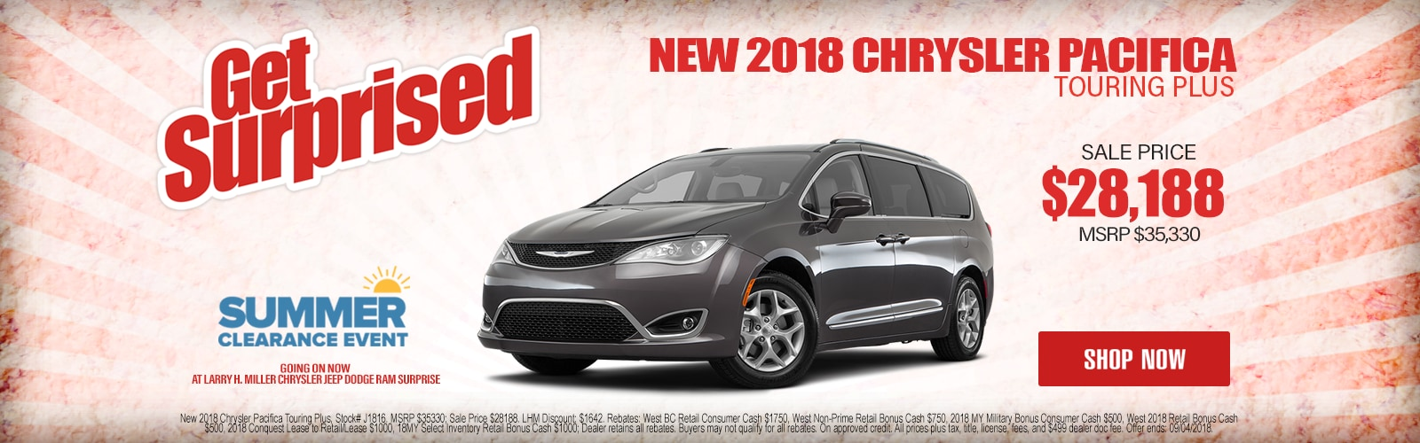 New 2018 Chrysler Pacifica Touring Plus Starting As Low As $28,188 at Larry H. Miller Chrysler Jeep Dodge Ram Surprise