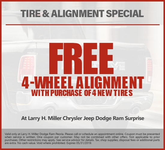 Free 4-Wheel Alignment with Purchase Of 4 New Tires at Larry H.  Miller Chrysler Jeep Dodge Ram Surprise