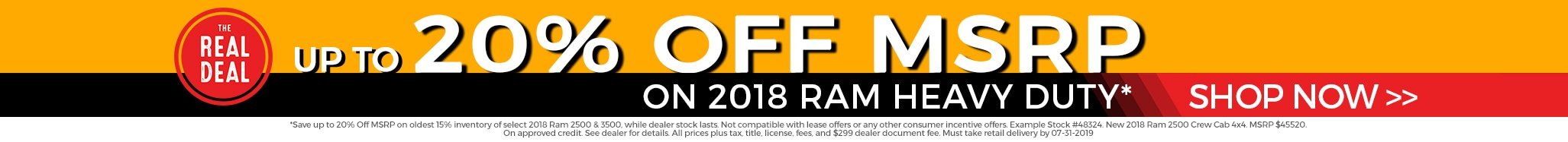 Up to 20% Off MSRP on 2018 Ram Heavy Duty