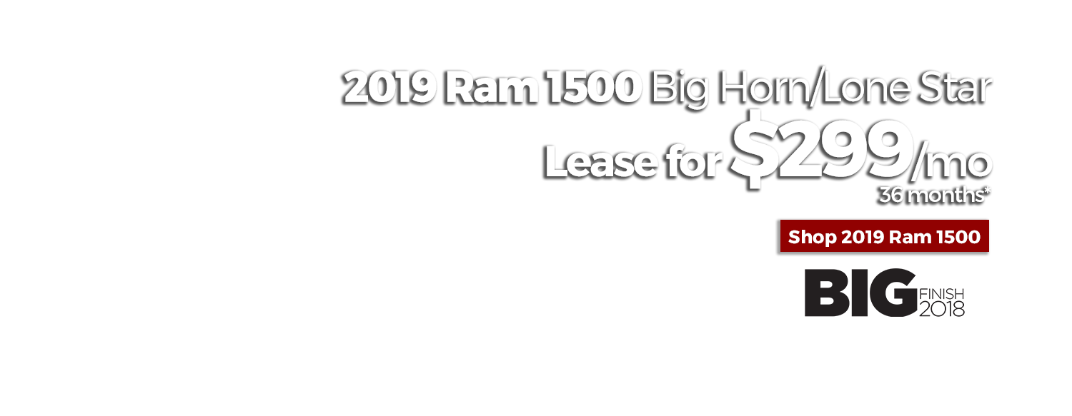 Lease a new 2019 Ram 1500 Big Horn/Lone Star for $299/mo for 36 months at LHM Chrysler Jeep Dodge Ram Sandy