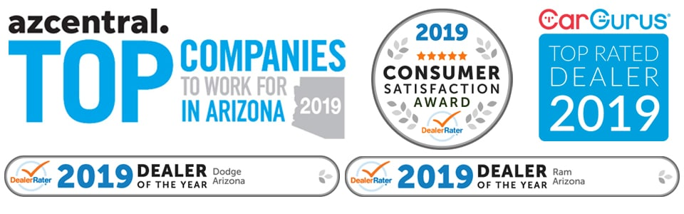 Awards include AZ Central 2019 Top Companies to Work for in Arizona, 2019 Dealer Rater Consumer Satisfaction Award, 2019 Dealer Rater Dealer of the Year award for Dodge and Ram, and Car Gurus Top Rated Dealer, 2019.