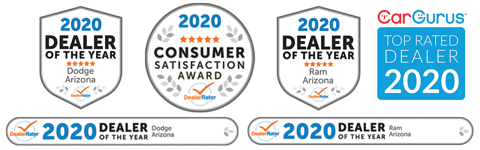 Awards include 2020 Dealer Rater Consumer Satisfaction Award, 2020 Dealer Rater Dealer of the Year award for Dodge and Ram, and Car Gurus Top Rated Dealer, 2020.