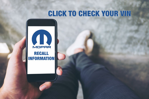 Click Here to Look up your VIN and see if your vehicle is included in any recall notices.
