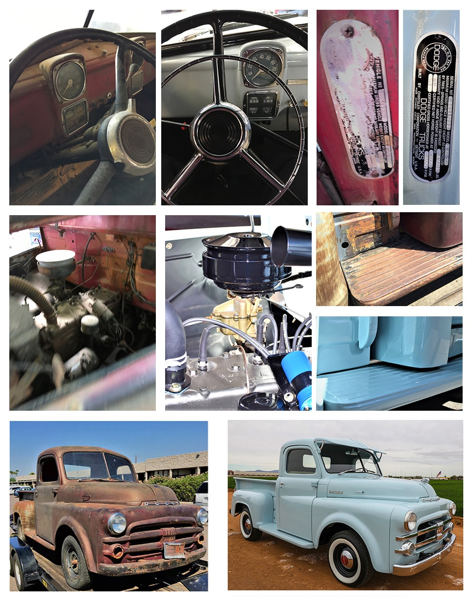 More Before and After Comparison photos of the Classic Truck Restoration Project by Larry H. Miller Dodge Ram Avondale