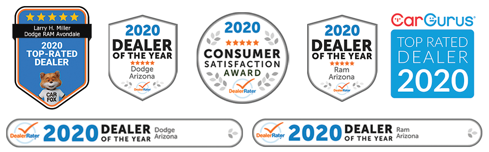 Awards include 2020 Dealer Rater Consumer Satisfaction Award, 2020 Dealer Rater Dealer of the Year award for Dodge and Ram, 2020 CarFax Top-Rated Dealer, and Car Gurus Top Rated Dealer, 2020.