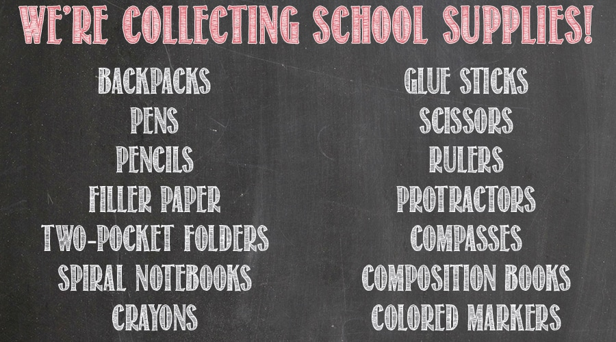 School Supplies We're Collecting