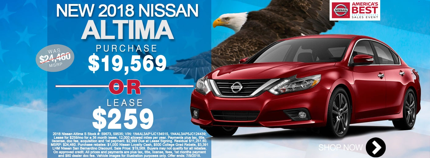 New Nissan Altima S For Sale June Monthly Special Net $19,569 Larry H Miller Nissan San Bernardino