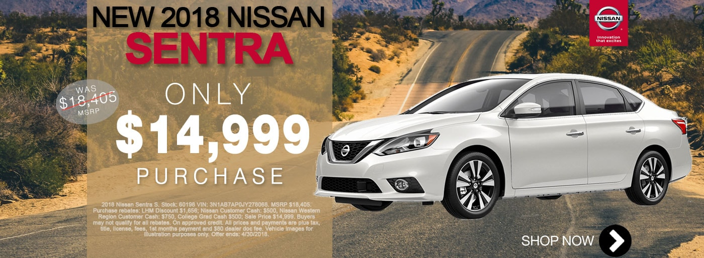 New Nissan Sentra For Sale April Monthly Special Net $14,999 Larry H Miller Nissan San Bernardino