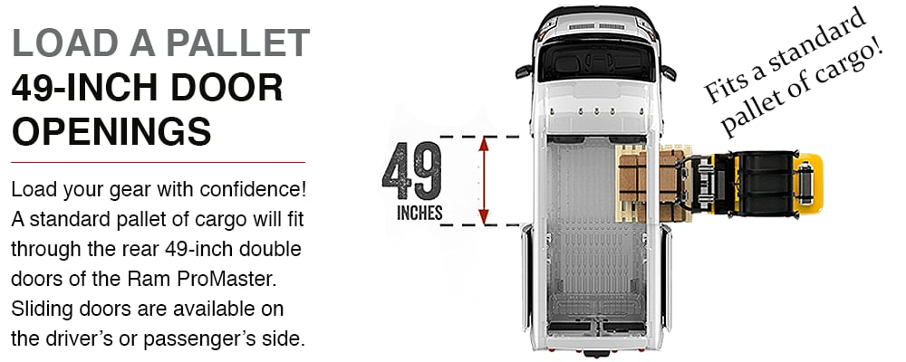 Get the *Best-in-Class cargo height, lowest floor height and max cargo width in the Ram ProMaster! Get up to 462.8 cu. ft. of cargo volume.