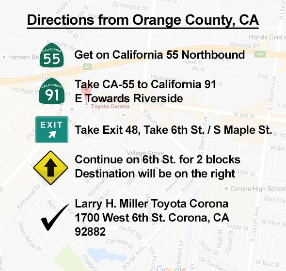Directions From Orange County to Corona CA