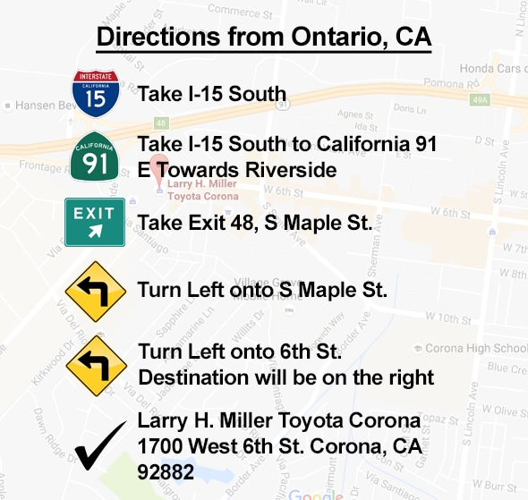 Directions From Ontario to Corona CA