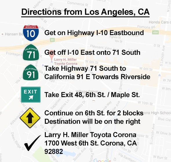 Directions From Los Angeles to Corona CA