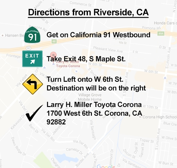 Directions From Riverside to Corona CA