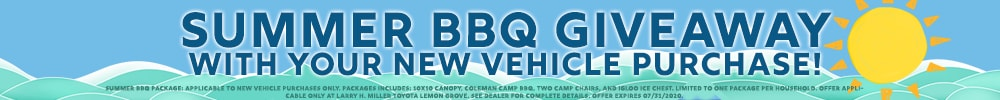 Don't Miss Out on Our Summer BBQ Giveaway Package with Your New Vehicle Purchase at Larry H Miller Toyota Lemon Grove