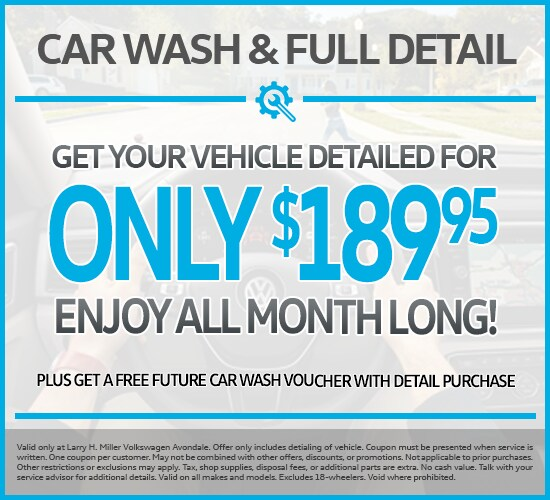 CAR WASH FULL DETAIL ONLY $189.95 at Larry H. Miller Volkswagen Avondale