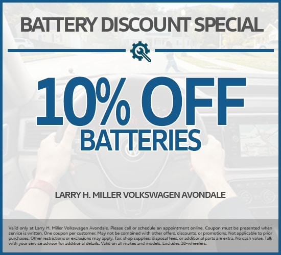 10% Off Batteries at Larry H. Miller Volkswagen Avondale