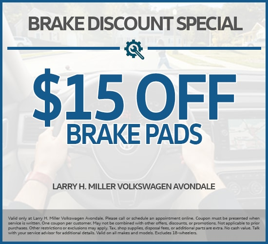 $15 Off Brake Pads at Larry H. Miller Volkswagen Avondale