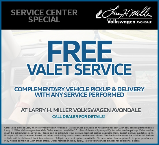 Free Valet Service With Any Service Performed at Larry H. Miller Volkswagen Avondale